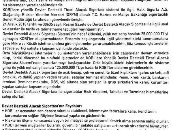Devlet Destekli Alacak Sigortası Hk.